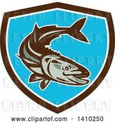 Vector Clip Art of Retro Cobia Fish in a Brown White and Blue Shield by Patrimonio