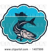 Vector Clip Art of Retro Cobia Fish Swimming Below a Silhouetted Fishing Boat in a Bubble Frame by Patrimonio