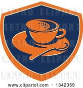 Vector Clip Art of Retro Coffee Cup, Spoon and Saucer in an Orange Blue and Tan Shield by Patrimonio