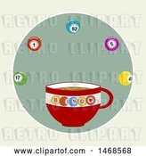 Vector Clip Art of Retro Coffee Cup with Bingo Balls over Green by Elaineitalia