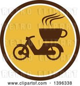 Vector Clip Art of Retro Coffee Moped in a Brown White and Yellow Circle by Patrimonio