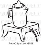 Vector Clip Art of Retro Coffee Percolator on a Wamer by Picsburg