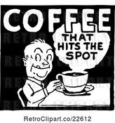 Vector Clip Art of Retro Coffee That Hits the Spot Sign by BestVector