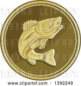 Vector Clip Art of Retro Coin of a Barramundi Asian Sea Bass Fish by Patrimonio