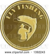 Vector Clip Art of Retro Coin of a Fly Fisher Man and Trout by Patrimonio