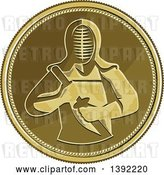 Vector Clip Art of Retro Coin with a Kendo Kendoka Swordsman with Bamboo Sword or Shinai by Patrimonio
