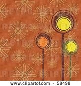 Vector Clip Art of Retro Colored Background of Trees and Flowers by MilsiArt