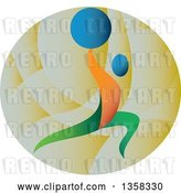 Vector Clip Art of Retro Colorful Athlete Weightlifting, Doing Lunges with a Barbell over His Head in a Circle by Patrimonio