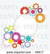 Vector Clip Art of Retro Colorful Burst and Cloud Background on Gray by KJ Pargeter
