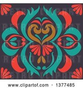 Vector Clip Art of Retro Colorful Floral Art Deco Background by Cherie Reve