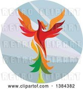 Vector Clip Art of Retro Colorful Flying Phoenix Bird over a Circle by Patrimonio