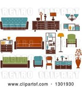 Vector Clip Art of Retro Colorful Household Furniture by Vector Tradition SM