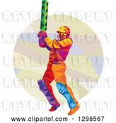 Vector Clip Art of Retro Colorful Low Poly Cricket Batsman over a Circle by Patrimonio