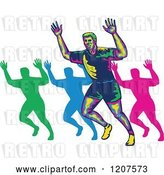 Vector Clip Art of Retro Colorful Marathon Runner and Silhouettes Holding up Hands by Patrimonio
