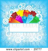 Vector Clip Art of Retro Colorful Orange, Red, Pink, Yellow, Green and Blue Bursting Stars on a Blank Text Bar over a Blue Background of Light Rays and Circles by KJ Pargeter