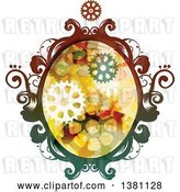 Vector Clip Art of Retro Colorful Oval Steampunk Frame with Gears by BNP Design Studio