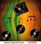 Vector Clip Art of Retro Colorful Stripes Background with Music Notes and Vinyl Records by Elaineitalia