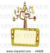 Vector Clip Art of Retro Colorful Tree of Abstract Shapes Atop a Text Box by MilsiArt