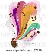 Vector Clip Art of Retro Colorful Waves and Music Notes Flowing out of a Gramophone by BNP Design Studio