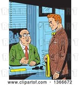Vector Clip Art of Retro Comic Styled Red Haired White Business Man Meeting with His Boss by Clip Art Mascots