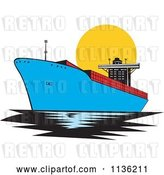 Vector Clip Art of Retro Commercial Tanker Ship 1 by Patrimonio