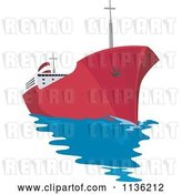 Vector Clip Art of Retro Commercial Tanker Ship 2 by Patrimonio