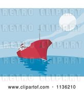 Vector Clip Art of Retro Commercial Tanker Ship 3 by Patrimonio