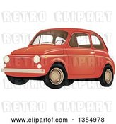 Vector Clip Art of Retro Compact Orange Car by Vectorace