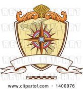 Vector Clip Art of Retro Compass Rose and Map Navigator Coat of Arms Crest by Patrimonio