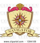 Vector Clip Art of Retro Compass Rose Navigator Coat of Arms Crest by Patrimonio