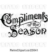 Vector Clip Art of Retro Compliments of the Season Text in by Prawny Vintage