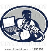 Vector Clip Art of Retro Computer Repair Guy with a Cable and Laptop in a Gray Oval by Patrimonio