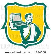 Vector Clip Art of Retro Computer Repair or Businessman with a Laptop on His Shoulder in a Green White and Yellow Shield by Patrimonio