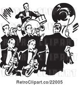 Vector Clip Art of Retro Conductor Leading a Band of Men by BestVector