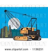 Vector Clip Art of Retro Construction Crane and City by Patrimonio