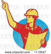 Vector Clip Art of Retro Construction Engineerwoman Directing and Holding Blueprints over Rays by Patrimonio