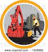 Vector Clip Art of Retro Construction Worker and Digger Machine in a Circle by Patrimonio