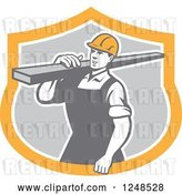 Vector Clip Art of Retro Construction Worker Carrying a Beam in a Shield by Patrimonio