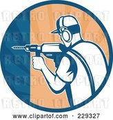 Vector Clip Art of Retro Construction Worker Drilling in a Circle by Patrimonio