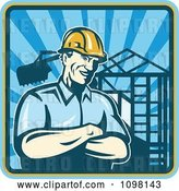 Vector Clip Art of Retro Construction Worker Foreman Smiling with Folded Arms with a Home Being Built in the Background by Patrimonio