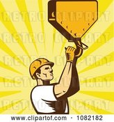 Vector Clip Art of Retro Construction Worker Grabbing a Hook over Rays by Patrimonio
