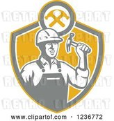 Vector Clip Art of Retro Construction Worker Guy Holding a Hammer in a Shield by Patrimonio