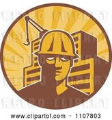 Vector Clip Art of Retro Construction Worker Guy in a Hardhat in a Circle with Rays a Building and Crane by Patrimonio