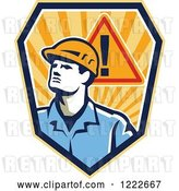 Vector Clip Art of Retro Construction Worker Guy with a Warning Sign over a Shield of Rays by Patrimonio