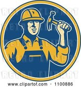 Vector Clip Art of Retro Construction Worker Holding a Hammer in a Blue Circle by Patrimonio