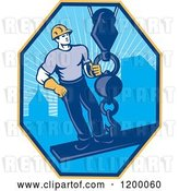 Vector Clip Art of Retro Construction Worker on a Girder Being Hoisted in a Hexagon by Patrimonio