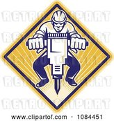 Vector Clip Art of Retro Construction Worker Operating a Jackhammer by Patrimonio