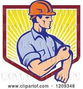 Vector Clip Art of Retro Construction Worker Rolling up His Sleeves over a Sunny Shield by Patrimonio