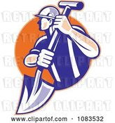 Vector Clip Art of Retro Construction Worker with a Shovel by Patrimonio