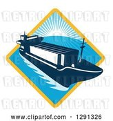 Vector Clip Art of Retro Container Cargo Ship Emerging from a Yellow and Blue Sunset and Ocean Diamond by Patrimonio